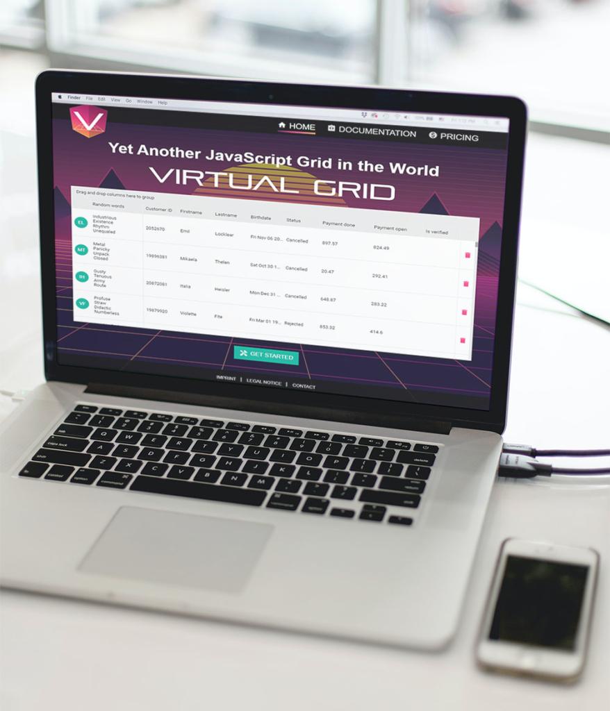 Screenshot Website on Laptop